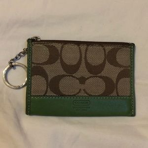 Coach Signature Tan and Green Leather Wallet